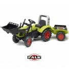 FALK Traktorius su pedalais Claas Arion 430 su buldozeriu ir prikaba 1040AM, žalias