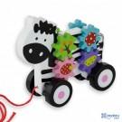 Traukiamas medinis žaisliukas Zebras