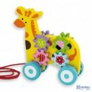 Traukiamas medinis žaisliukas Žirafa