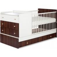 KLUPŠ KOMPAKT transformuojama vaiko - kūdikio lovytė  su komoda, riešutmedžio spalvos