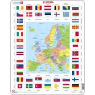 Larsen lietuviška dėlionė (puzzle) Europos Žemėlapis ir vėliavos Maxi