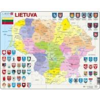 Larsen lietuviška dėlionė (puzzle) Lietuvos Politinis Žemėlapis Maxi