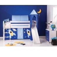 Pusaukštė medinė lova Kosmonauto komplektas