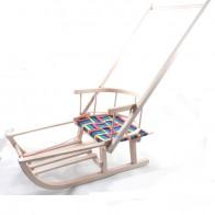 Medinės rogutės Mažylis, su medžiagine sėdyne, atlošu ir stūmimo rankena