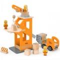 Viga Toys medinis kranas ir automobilis
