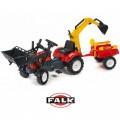FALK RANCH traktorius - krautuvas- ekskavatorius su priekaba, raudonas