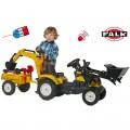 FALK CLAAS geltonasis traktorius - krautuvas- ekskavatorius su priekaba ir smėlio žaislais nuotrauka nr.1