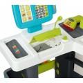 Smoby Market Elektroninis kasos aparatas -žaislinė parduotuvė su šviesomis, garsais ir 34 priedais